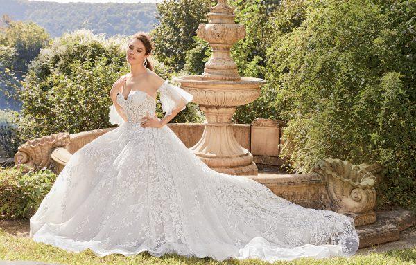 Sheer Beaded Bodice Strapless Ball Gown Wedding Dress