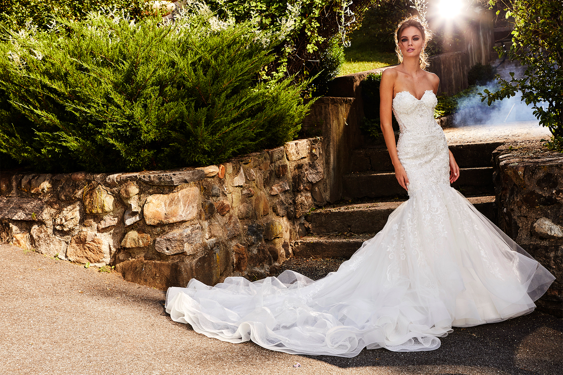 Sweetheart Fit And Flare Beaded Lace Wedding Dress