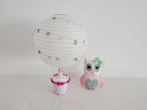 Read more about the article Heißluftballon Dekoration für das Kinderzimmer – Basteln für Kinder mit einem Lampenschirm