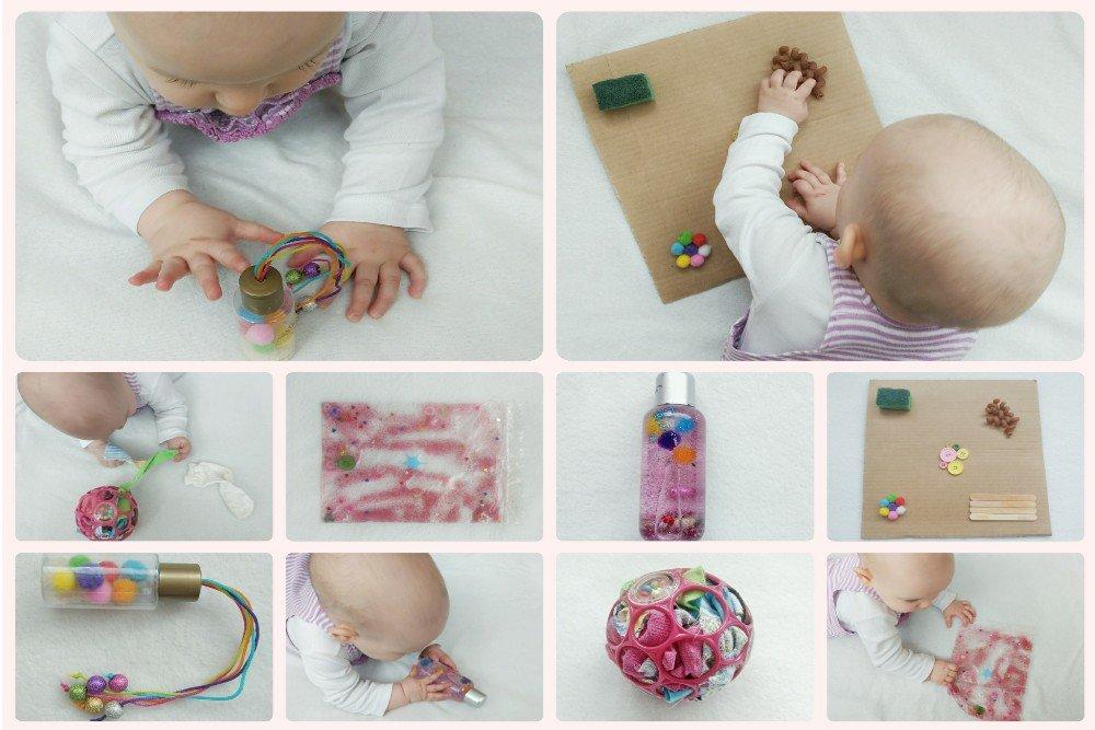 You are currently viewing Fünf kreative selbstgemachte Spielzeuge mit denen sich euer Baby beschäftigen kann – Ideen für Aktivitäten zum Fördern von Sensorik und Feinmotorik