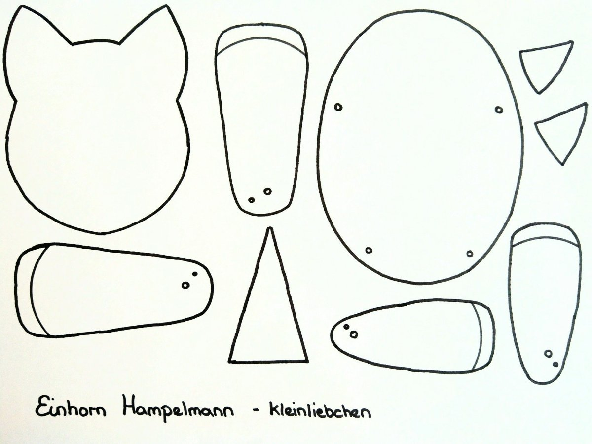 Schablonen zum ausdrucken für den DIY Einhorn Hampelmann