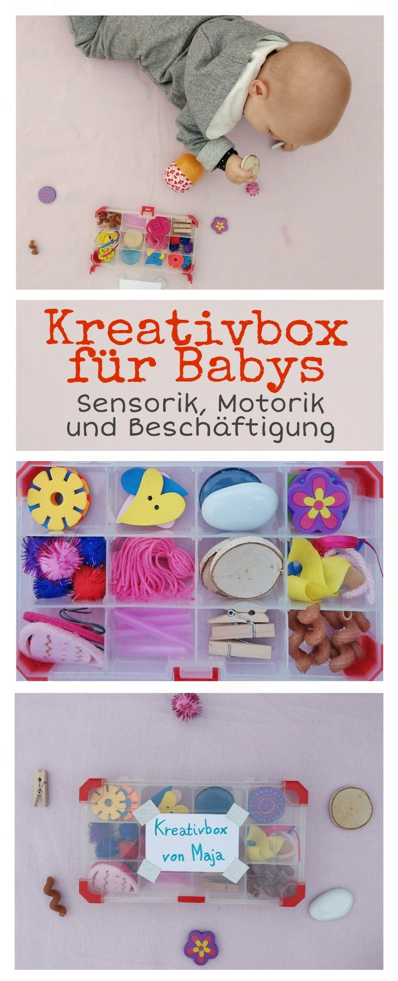 Mit einer Kreativbox für euer Baby wird die Sensorik und die Feinmotorik gefördert. Toll als Beschäftigung geeignet. Als Materialien eignen sich große Gegenstände, Die nicht verschluckt werden können.