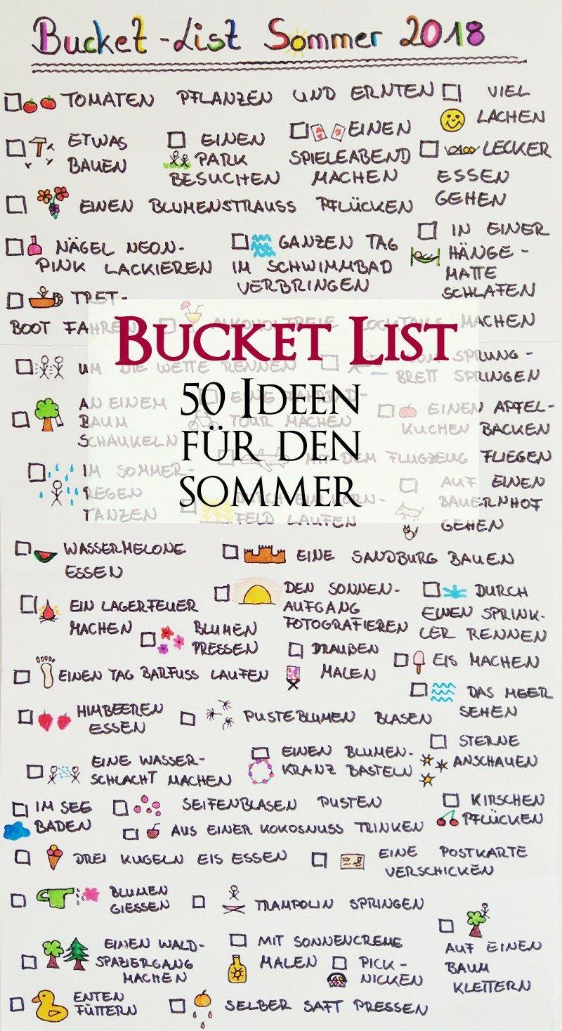 Bucket List für den Sommer   20 Dinge die wir diesen Sommer machen ...