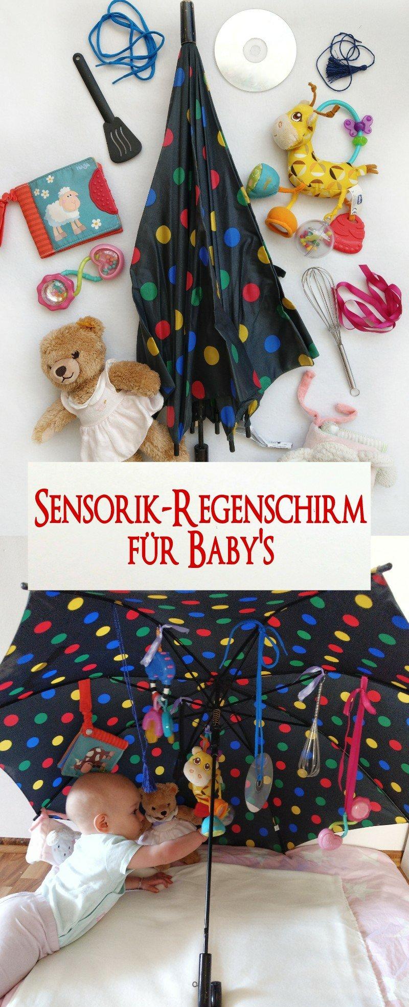 DIY Spielzeug für das Baby. Spielidee zur Beschäftigung als Alternative zum Spielbogen. Ein Sensorik-Regenschirm fördert die Feinmotorik und die Sensorik von eurem Baby