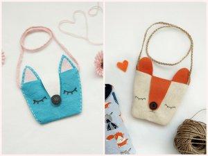 Einfache Tasche für Mädchen aus Filz oder Allzwecktüchern – Anleitung mit gratis Schnittmuster