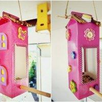 Vogelhaus aus Milchtüten basteln - Mit Kindern ein Futterhaus selbermachen