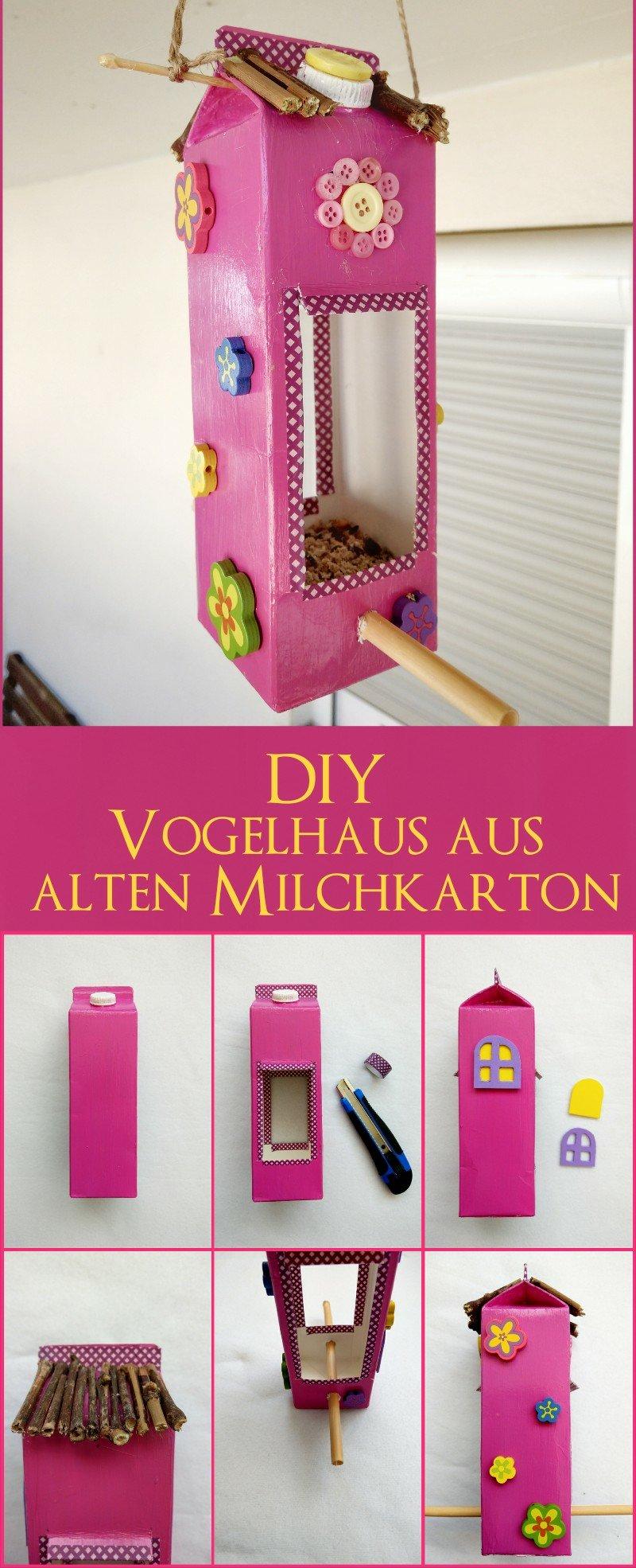 Hier zeige ich euch wie ihr ganz einfach ein Vogelhaus aus Milchtüten basteln könnt. Schritt für Schritt Anleitung auch für Kinder. Süße Dekoration für Balkon und Kinderzimmer. Upcycling aus alten Milchkarton.