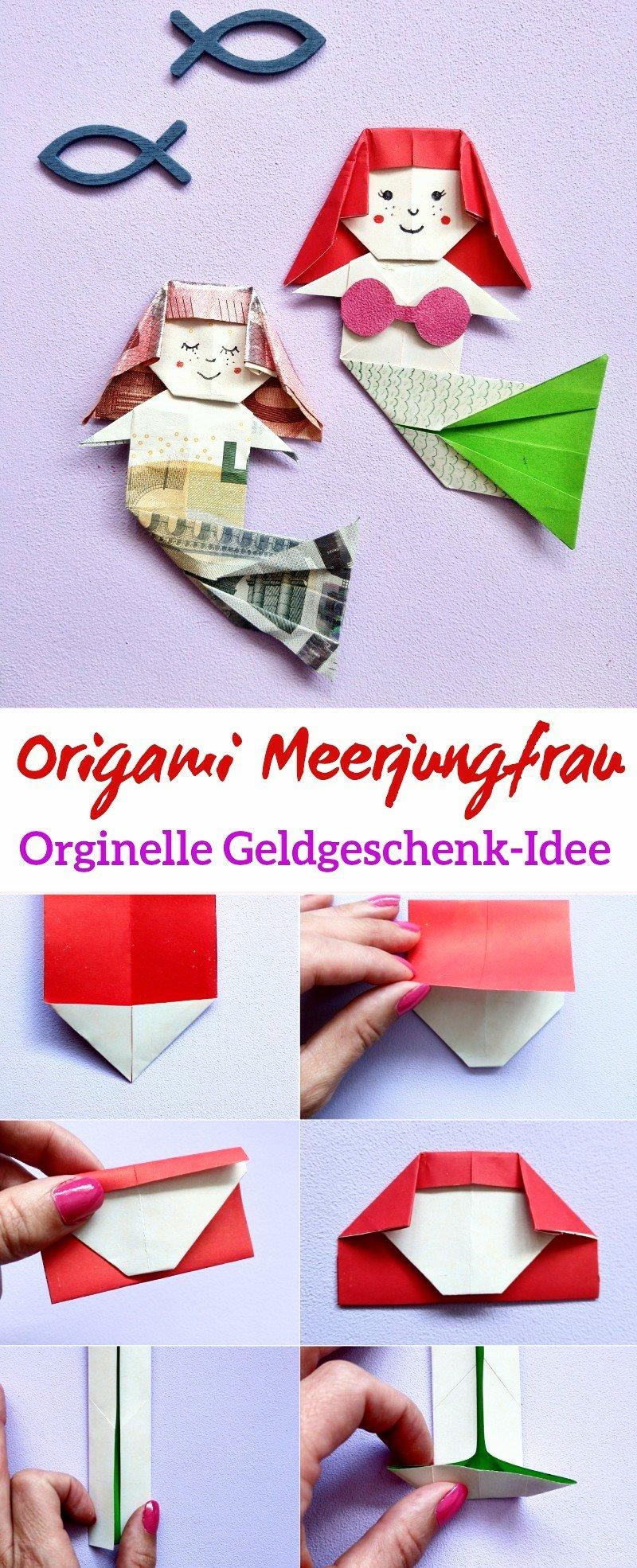 Eine Orginelle Idee um Geldgeschenke zu machen, eine Origami Meerjungfrau. Hier zeige ich euch Schritt für Schritt wie ihr eine Meerjungfrauen aus Papier Oder Geld falten könnt.