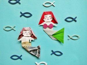 Origami Meerjungfrau falten – originelles Geldgeschenk zum Falten