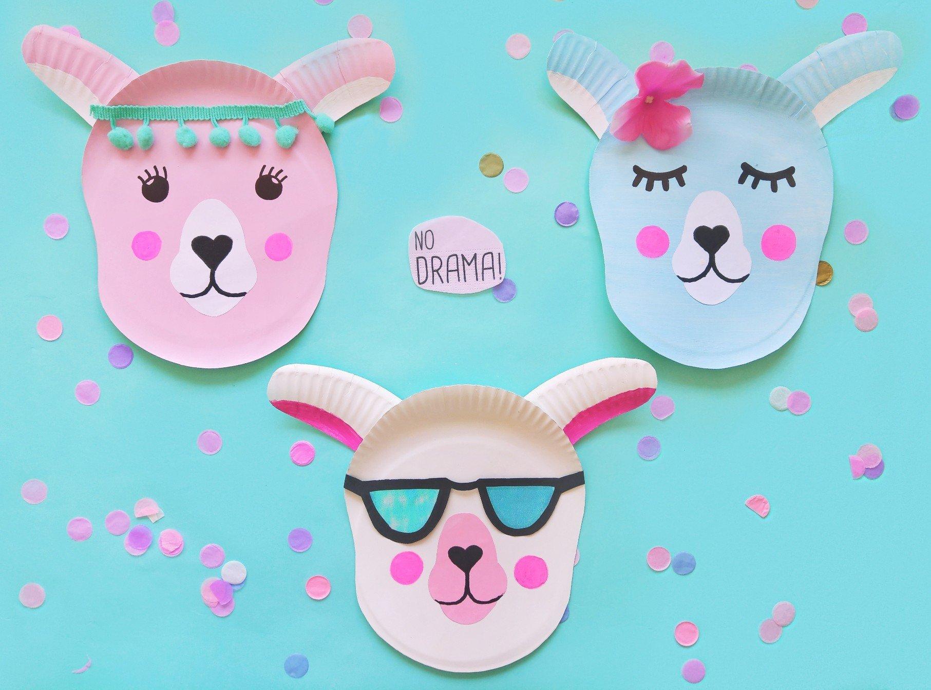 Lama aus Papptellern basteln – DIY Dekoidee für Kinder