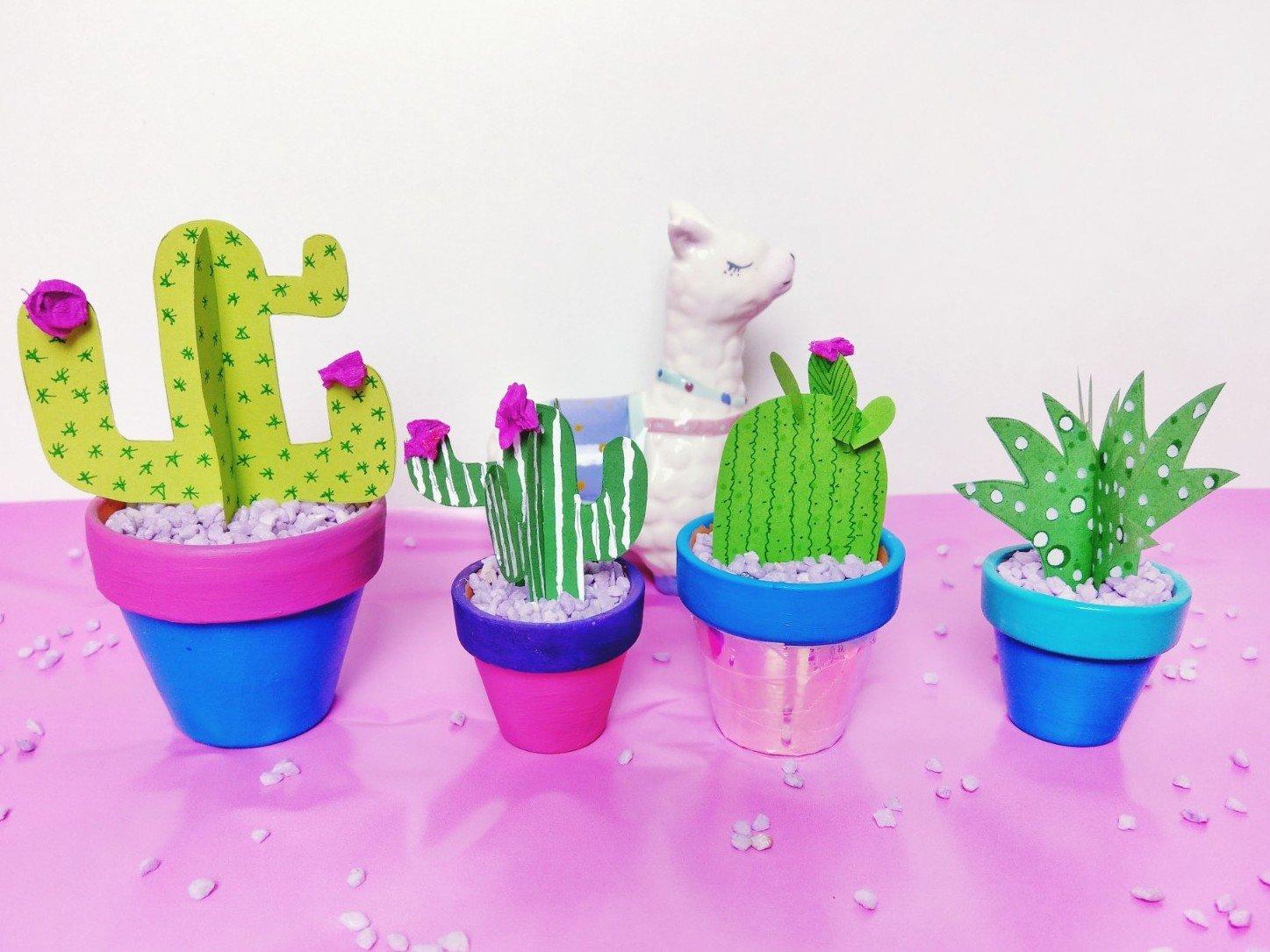 Kaktus aus Papier basteln – DIY Dekoration im Blumentopf