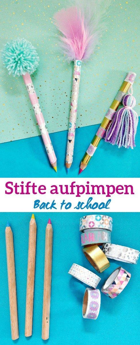 Eine supersüße Idee um Stifte mit Washi-Tape aufzupimpen. Back to School. Personalisierte Stifte