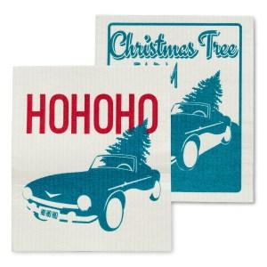 Vintage Car And Tree Dishcloths