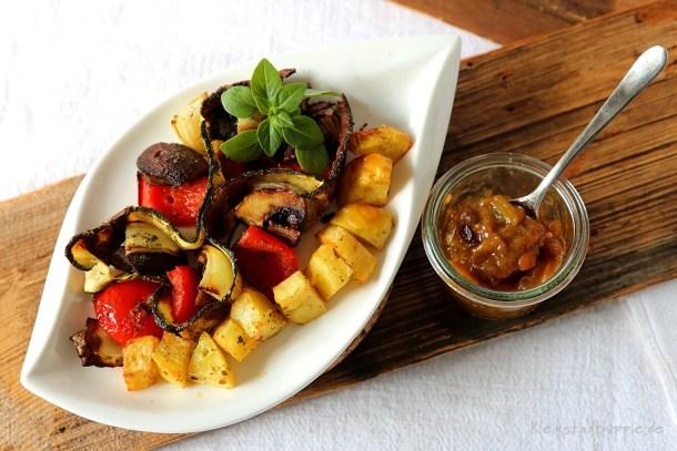 Gemüsespieße und Kartoffelspieße aus dem Airfryer