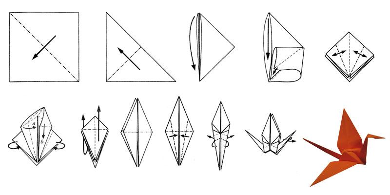 origami Kranich faltung