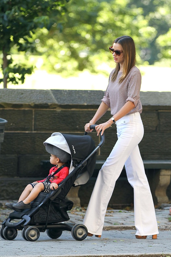 Miranda Kerr goes for an afternoon stroll with son Flynn in Manhattan's upper east side on Wednesday, June 27