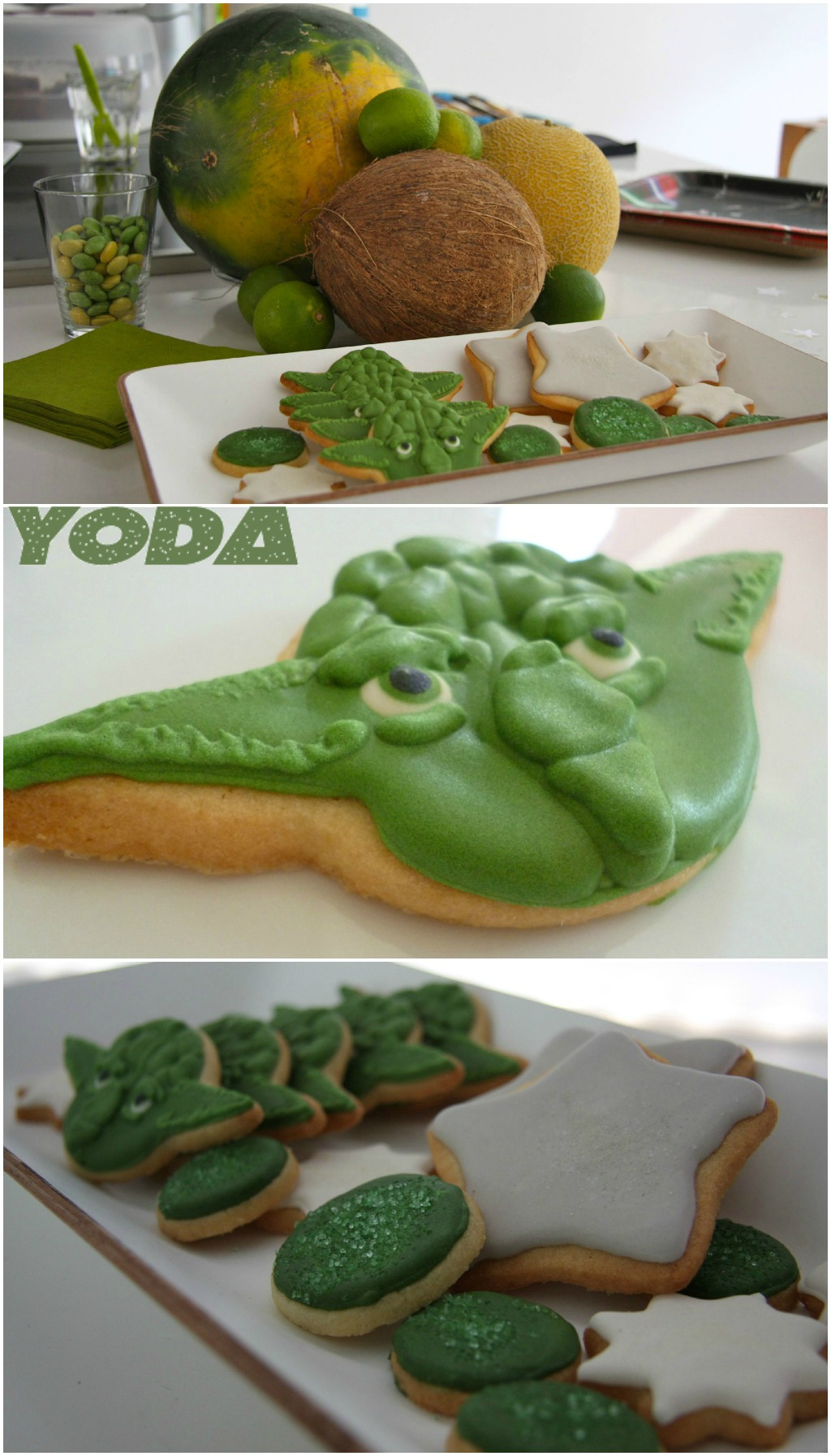 Star Wars Kids themed birthday party Yoda cookies kekse kindergeburtstag