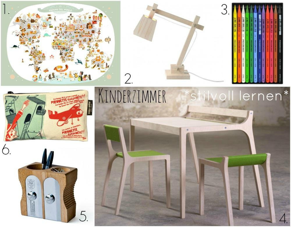 schulkind kinderzimmer moebel und accessoires Collage stilvoll lernen