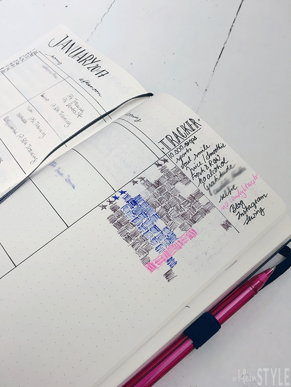 Familien Planung Kalender bullet-journal-monthly-overview-tracker-by-kleinstyle.com