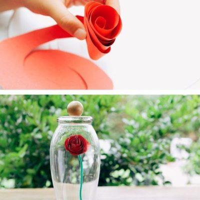 Verwunschene Rose aus Papier