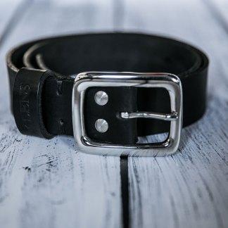 Кожаный ремень ручной работы 40 мм черный мужской с литой пряжкой и двумя винтами из нержавеющей стали