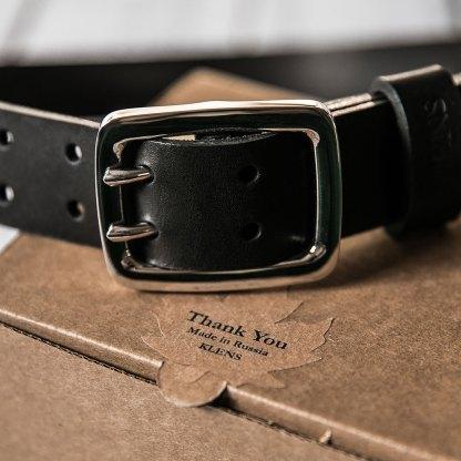 Кожаный двойной ремень ручной работы 40 мм черный мужской с литой пряжкой и четырьмя винтами из нержавеющей стали
