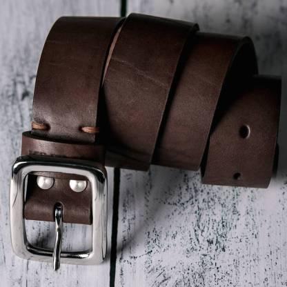 Коричневый кожаный ремень ручной работы