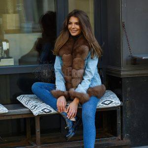 Джинсовая куртка с мехом песца под куницу | Шубы цены и ...