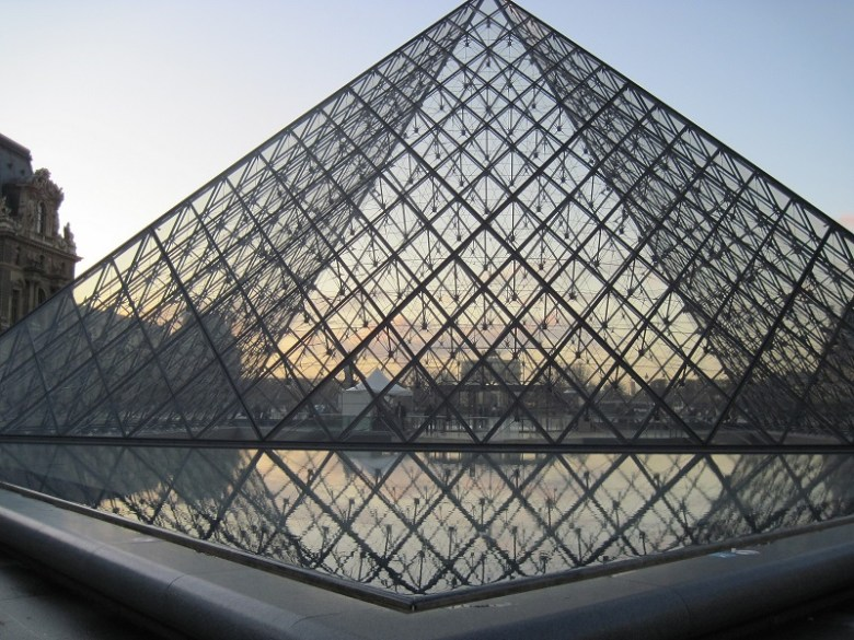 The pyramid at the Louvre, reflected.