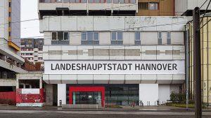 Ihmezentrum Spinnereistraße 3 Fassade Aufschrift Landeshauptstadt Hannover