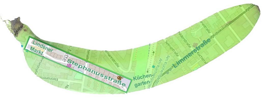 Grüne Banane, Kartenausschnitt Stephanusstraße und Lindener Marktplatz als autofreie Zone