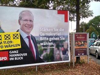 OB Schostok verstößt gegen die Neutralitätspflicht bei Kommunalwahl Niedersachsen 2016, SPD-Plakat mit OB
