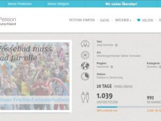 Bildschirmfoto Petition Fössebad über 1000 Unterschriften