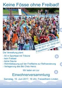 """Plakat """"Keine Fösse ohne Freibad"""""""