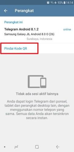 cara login telegram dengan kode qr