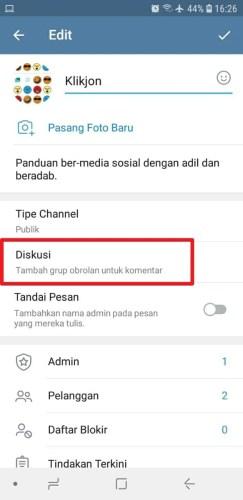 cara channel ada komentar