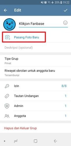 cara pasang foto grup telegram