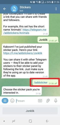 cara menambah stiker telegram