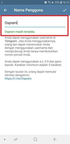 cara mengganti username telegram