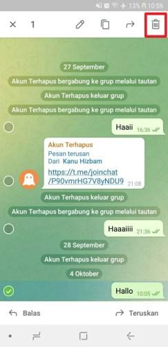 cara menghapus pesan di grup telegram