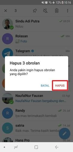 cara menghapus chat di telegram