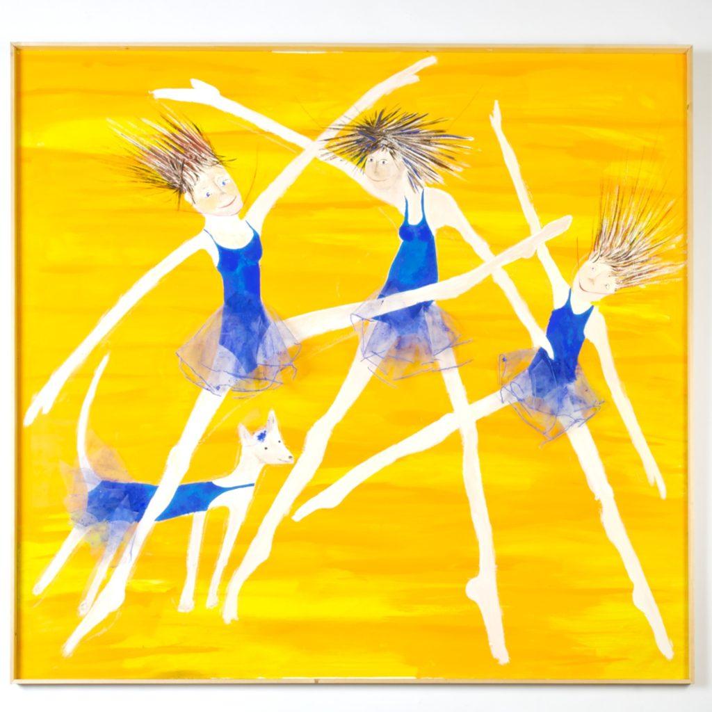 Schilderij geel met blauwe dansende meisjes
