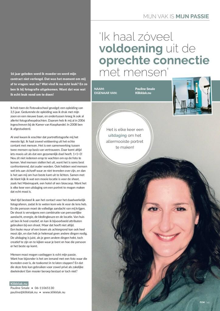 Publicatie in het For You magazine 2019-04 regio Utrecht van Pauline Smale van Klikklak.nu. Fotograaf uit Utrecht