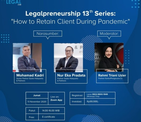 "Legalpreneurship 13th ""How to Retain Client During Pandemic"""