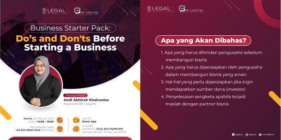 "webinar: ""Business Starter Pack: Do's and Don'ts Before Starting a Business"""