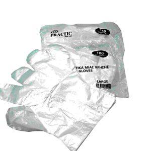 Γάντια πλαστικά μίας χρήσης 100TEM