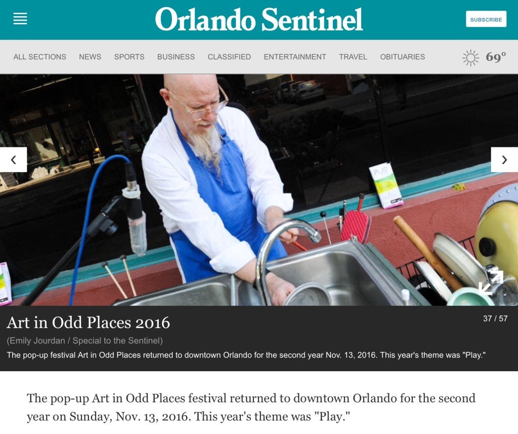 "a photo in the Orlando Sentinel Newspaper of klimchak performing ""When You Whistle, It's Not Work""."