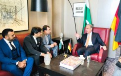 Foriegn Minister Shah Mehmood Qureshi is meeting community during his visit to Pakistan Consulate in Germany