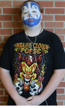 Senior, Jacob Merriam doing his usual ICP face paint for spirit day.