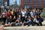 Loy Norrix Knight Life and a few members of Yearbook join together to take a group photo after the successful MIPA Conference. PHOTO CREDIT / Tisha Pankop